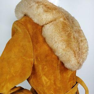 Vintage 70s Penny Lane Suede Lambs Wool Swing Coat